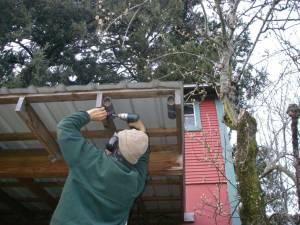 Bryan installs mason bee boxes